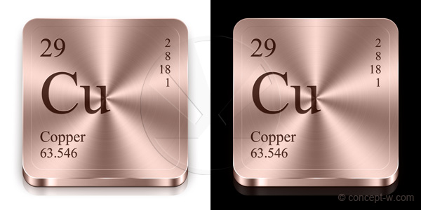 copper buttons two copper reddish metal buttons from periodic table - Periodic Table Copper Symbol