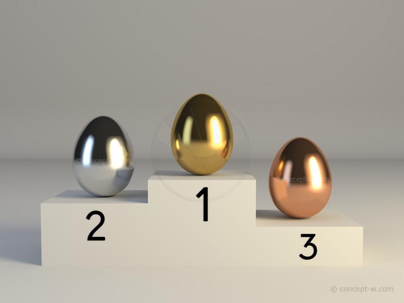 gold egg, silver egg, bronze egg